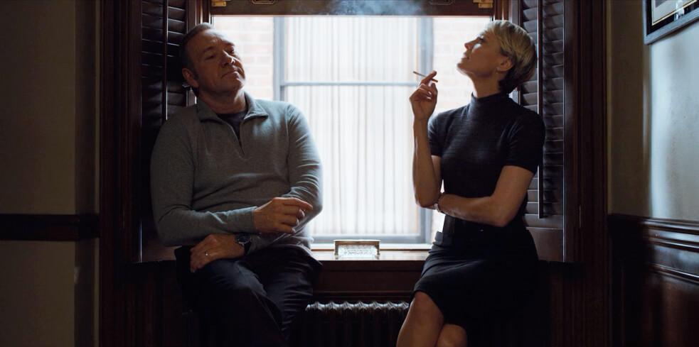 Frank and Claire smoking