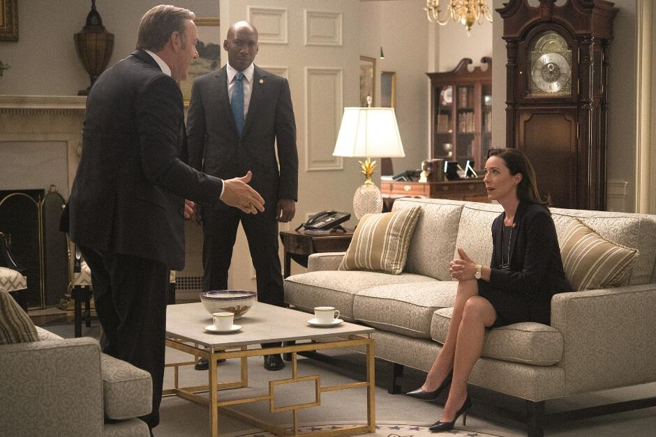 Frank Underwood, from House of Cards, arguing at the White House