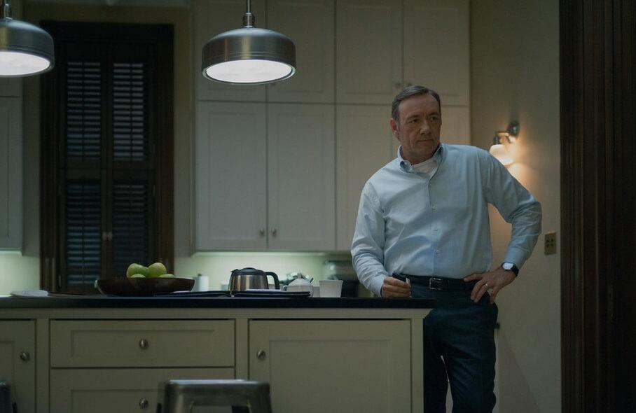 Frank Underwood in his home kitchen